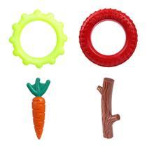 4 Brinquedos Cães Disco Cenoura Graveto Pneu Buddy Toys -