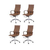 4 Cadeira Eames Alta Esteirinha Caramelo Decoradeira -