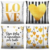4 Capas De Almofadas Decorativas Para Sofá, Cama e Poltronas Amarelo Com Preto - Amanda Bordados