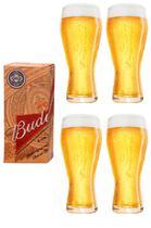 4 copos budweiser litografados 400ml - embalagem individual - Ambev
