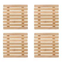 4 Descanso De Panela Bambu Quadrado 17cm Apoio De Borrachas - Nova