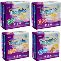 4 pacotes de Fralda Toquinho Confort Sec P, M, G, EG c/ 340 unidades - Diguinho