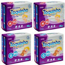 4 pacotes de Fralda Toquinho Confort Sec tamanho M e G c/340 unidades - Diguinho