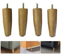 4 pes para armario 12 cm de altura de madeira eucalipto - Rodrim