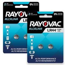 4 Pilhas Baterias Lr44 A76 Ag13 Alcalina Rayovac 2 Cartelas -