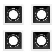 4 Spot Embutir Branco Fundo Preto AR70 Square Sth8930BR/PTO Stella -