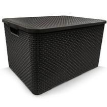 4 x Caixa Organizadora Plástica Cesto Rattan 40 L Com Tampa -