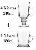 4 Xícaras 240ml + 4 180ml - Caneca Nespresso - Crisal