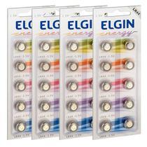 40 Pilhas Baterias Lr44 A76 Ag13 Alcalina Elgin - 04 Cartelas -