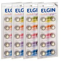 40 Pilhas Baterias Lr44 A76 Ag13 Alcalina Elgin 04 Cartelas -