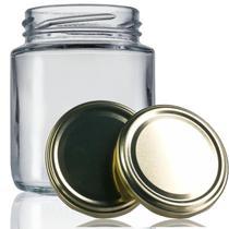 48 Potes De Vidro Belém 240 Ml Com Tampa Dourada + Lacre - Empório Pack
