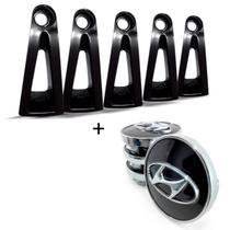 5 Apliques de roda liga leve Hyundai I30 2009 a 2012 Preto + JG Calota Centro Roda Hyundai I30 Pre - Gfm - Calotinha
