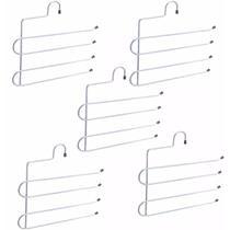 5 Cabides Calceiros Para 4 Calças Níveis Aço Guarda Roupa Closet - Zanline