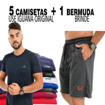 5 Camisetas Masculina Basica Gola Redonda + 1 bermuda moletom brinde - Use Iguana