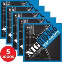 5 Encordoamento Nig P/ Guitarra 010 046 N64 Encapadas Com Níquel -