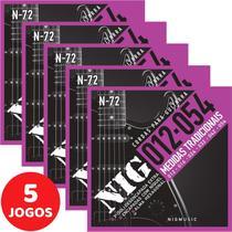 5 Encordoamento Nig P/ Guitarra 012 054 N72 Encapadas Com Níquel -