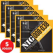 5 Encordoamento Nig P/ Guitarra 08 038 N62 Encapadas Com Níquel -