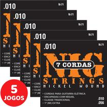 5 Encordoamento Nig P/ Guitarra De 7 Cordas 010 056 N71 Nickel Wound -