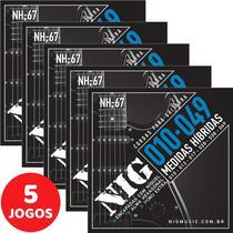 5 Encordoamento Nig P/ Guitarra Híbrido 010 049 NH67 Encapadas Com Níquel -
