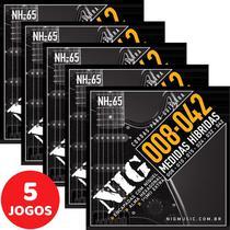 5 Encordoamento Nig P/ Guitarra Híbrido 08 042 NH65 Encapadas Com Níquel -