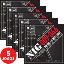 5 Encordoamento Nig P/ Guitarra Híbrido 09 046 NH66 Encapadas Com Níquel -