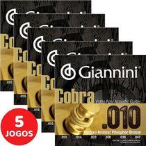 5 Encordoamento Violão Giannini Cobra Phosphor Bronze 010 Geeflef -