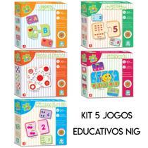 5 Jogos Pedagógico Alfabeto Cores Matemática Números Soletrando - Nig