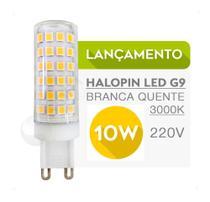5 Lâmpadas Halopin LED G9 10W 220V Luz Branca Quente/3000K - P/Lustres Luminárias e Arandelas - Top Light
