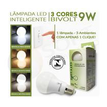 5 Lâmpadas LED Inteligente 3 Tons de Luz Branca (Fria Quente e Neutra) 9W E27 Bivolt - City Lumi