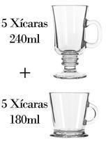 5 Xícaras 240ml + 5 180ml - Caneca Nespresso - Crisal