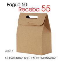 50 Caixas Caixinhas Papel Kraft Mod. Sacolinha p/ Mini Suspiros Mini Ovos de Páscoa CX001 K - ROAH