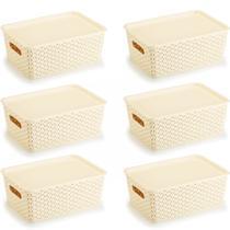 6 Caixas Organizadoras Rattan Creme c/ Tampa -6,5 Litros - VARIEDADES
