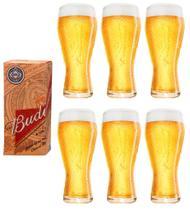 6 copos budweiser litografados de 400ml - Embalagem individual - Ambev