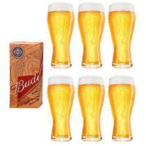 6 Copos Budweiser Litografados De 400ml - Embalagem Individual - Globimport