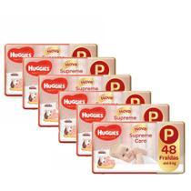 6 Fraldas Infantil Descartável MONICA HUGGIES Supreme care MEGA P 48 unidades -