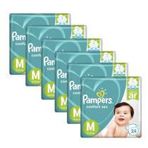 6 Fraldas Infantil Descartável  Pampers Confort Sec M 24unid. -