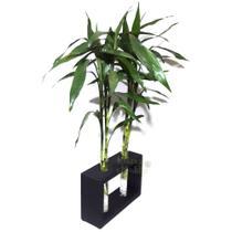 6 Hastes de Bambu da Sorte com Suporte em Madeira e Vaso em Vidro - Relaxar E Meditar