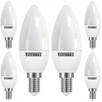 6 Lâmpada Led Vela Taschibra TVL 25 Leitosa 3w E14 E27 Branco Quente 3000K Luz Amarela -