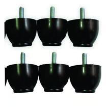 6 Pés Cilíndricos de plástico 4 Cm De Altura P/ Cama Box Baú Solteiro - Rodrim
