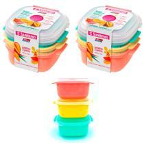 6 potes de plástico 480ml para mantimentos e organização freezer e microondas Sanremo -