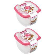 6 potes mantimentos com tampa comida frutas fitness marmita vasilha freezer microondas sanremo flor -