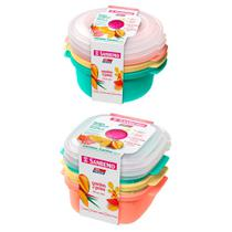 6 potes para mantimentos 480ml 530ml com tampa livre BPA para freezer e microondas - Sanremo
