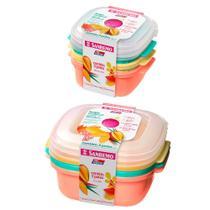 6 potes vasilhas coloridas 480ml 1300ml para mantimentos frutas com tampa Livre BPA - Sanremo