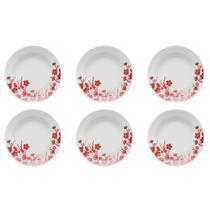 6 Pratos Fundos Donna 21cm Cerâmica Jardim Oriental Am14-5102 Biona -