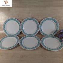 6 pratos sobremesa redondo em melamina plástico resistente de 20 cm - ART HOUSE