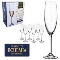 6 Taça para champagne em cristal 220 ml Bohemia 4S415/220 -