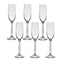 6 Taças De Cristal Para Champagne 220 ml Linha Chanson Bohemia Cristal -