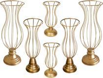 6 Vasos Armação Para Pedrarias Ou Pérolas Decoração Luxo de Festas e Casamentos Jarros Aramado - Costa&Silva Decorações