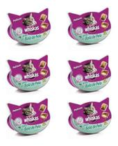 6 X Petisco Whiskas Temptations Anti Bola De Pelo - 40gr -