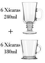 6 Xícaras 240ml + 6 180ml - Caneca Nespresso - Crisal